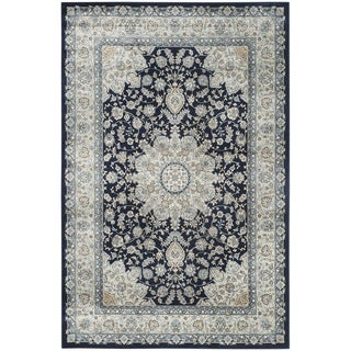 Safavieh Persian Garden Navy/ Light Blue Viscose Rug (6'7 x 9'2)