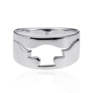 Texas Longhorn Outline Cut Out .925 Silver Ring (Thailand)