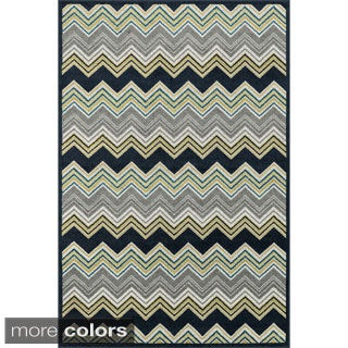 Indoor/ Outdoor Palm Chevron Striped Rug (7'10 X 10'9)