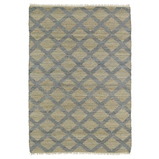Handmade Natural Fiber Canyon Slate Lattice Rug (8'0 x 11'0)
