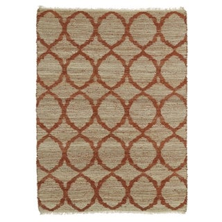 Handmade Natural Fiber Canyon Rust Lattice Rug (8'0 x 11'0)