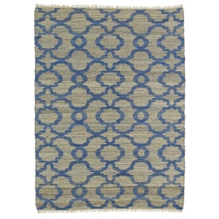 Handmade Natural Fiber Canyon Blue Trellis Rug (8'0 x 11'0)