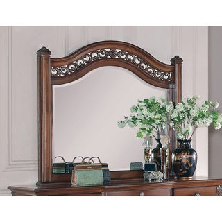 Oak Scroll Accent Arched Mirror