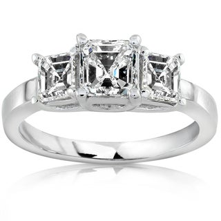 Annello 14k White Gold 1 1/2ct TDW Certified Asscher Diamond Engagement Ring (H-I, SI)