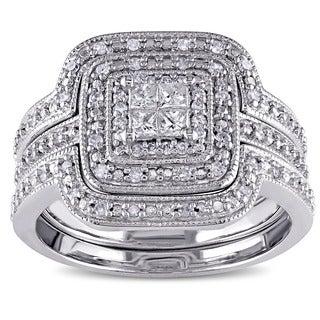 Miadora Sterling Silver 3/8ct TDW Diamond 3-Piece Bridal Ring Set (G-H, I2-I3)