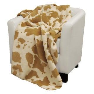 Denali tan Cow Wheat Micro-plush Throw Blanket