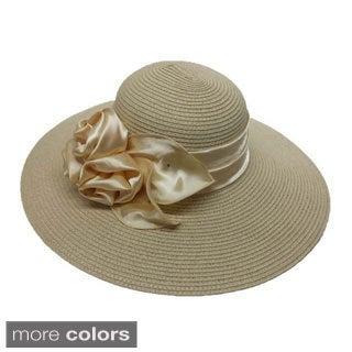 Swan Hat Women's Swan Satin Bow Straw Braided Floppy Hat
