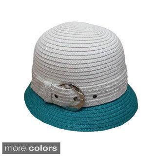 Women's Swan Two-tone Silver Buckle Straw Braid Bucket Hat
