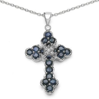Sterling Silver Blue Sapphire/ 2.29 TGW Diamond Accent Cross Pendant