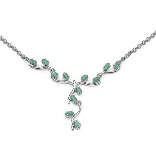 Sterling Silver Emerald 1.6ct TGW Necklace