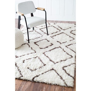 nuLOOM Soft and Plush Moroccan Trellis Ivory Brown Shag Rug (9' x 12')