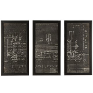 """""""Locomotive Train"""" Wrapped Giclee Canvas Framed Wall Art (Set of 3)"""