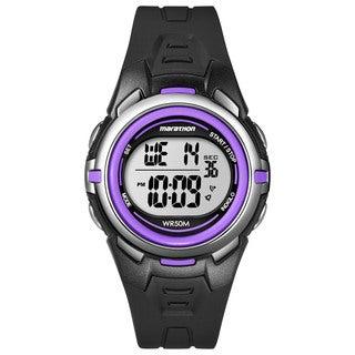 Marathon by Timex Women's Digital Mid-size Blue/ Silvertone/ Purple Watch