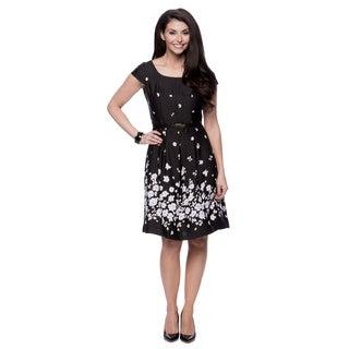 Jones New York Missy Cap Sleeve Black/ White Dress