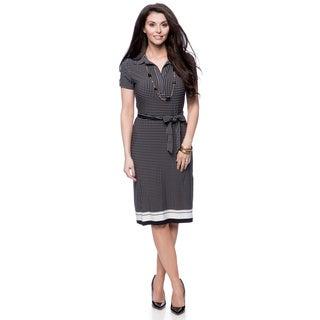 Jones New York Missy Polka Dot Short Sleeve Shirt Dress