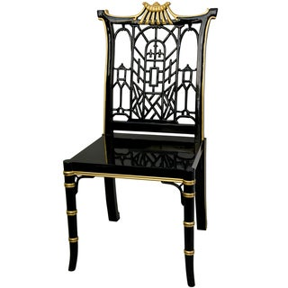 Black Lacquer Pagoda Wood Chair (China)