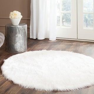 Safavieh Handmade Faux Sheep Skin Ivory Acrylic Rug 4 Round