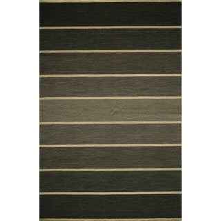 Danville Ombre Stripe Reversible Flat Weave Wool Dhurry Area Rug (8' x 10')