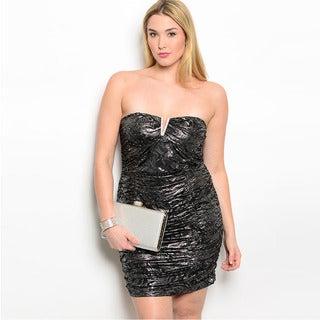 Shop The Trends Women's Plus Size Abstract Metallic Pattern Strapless Mini Dress