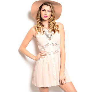 Shop The Trends Women's Pink Daisy Chest Sleeveless Fit and Flare Dress