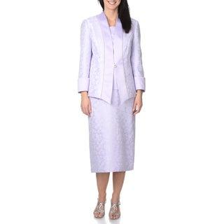 Mia Suits Collection Women's Floral Brocade 3-piece Skirt Suit