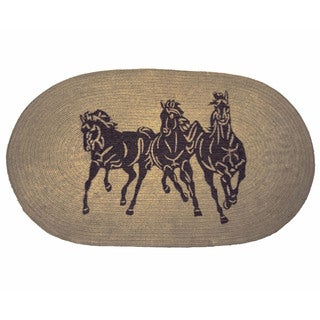 HiEnd Accents Three Horse Jute Light Chocolate Acrylic Rug