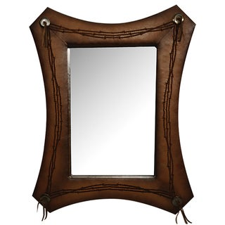 HiEnd Accents Barbwire Faux Leather Mirror