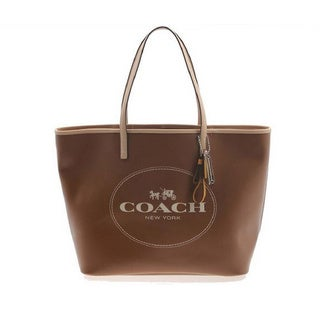 Coach 'Metro Hourse' Brown Leather Carriage Tote