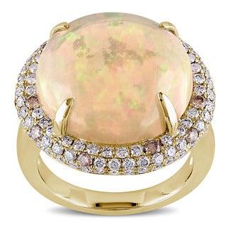 Miadora 14k Yellow Gold Ethiopian Opal 1 1/3ct TDW Brown and White Diamond Cocktail Ring (G-H, SI1-SI2)