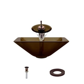 Mr Direct 603 Taupe Oil Rubbed Bronze Bathroom Sink and Faucet Ensemble
