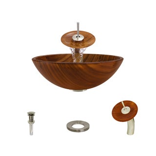 Mr Direct 628 Brushed Nickel Bathroom Sink and Faucet Ensemble