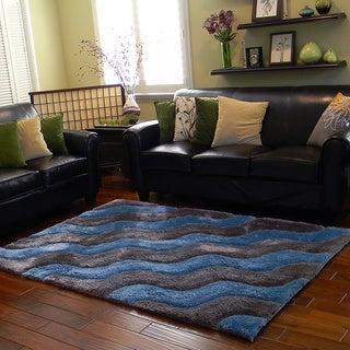 Donnie Ann Shaggy Abstract Two-tone Wavy Blue Area Rug (5 'x 7')