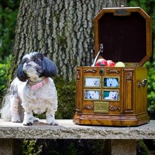 Warm Oak Finish Carved Motif Cherished Pet Life Chest