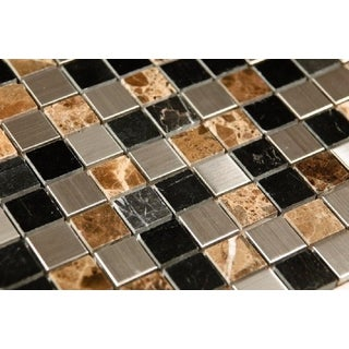 Sepia Stainless Steel and Stone Mix Mosaic Tiles (12 x 12 inches) (Box of 11)