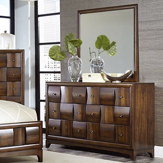 Darian Classic Medium Walnut 6-drawer Dresser and Mirror