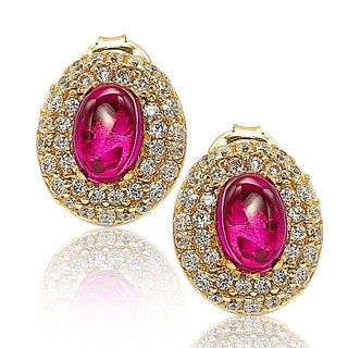 Suzy Levian 18k Gold Sterling Silver Gemstone Pave Stud Earrings