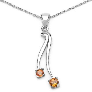 Malaika Sterling Silver Orange Sapphire Necklace