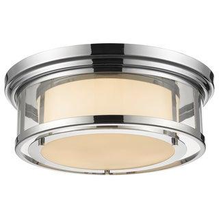 Z-Lite Luna 3-light Chrome with Matte Opal Glass Shade Flush Mount