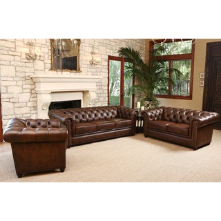 ABBYSON LIVING Vista Tufted Distressed Brown Italian Chesterfield Leather 3 Piece Set