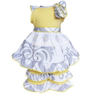AnnLoren Boutique Grey Damask and Dots and Yellow 2 piece Outfit Fits 18 inch Dolls