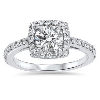 Bliss 14k White Gold 1ct TDW Halo Diamond Engagement Ring (G-H, I1-I2)