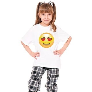 Youth 'Happy Face Heart Shaped Eyes' Print Cotton T-shirt