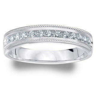 Amore Platinum .25ct TDW Milgrain Machine-set Diamond Wedding Band (G-H, SI1-SI2)