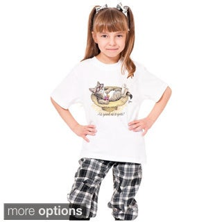 Youth Girl's Printed Cat Graphic T-shirt