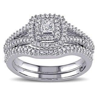 Miadora Sterling Silver 1/2ct TDW Diamond Halo Bridal Ring Set (G-H, I2-I3)