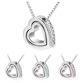Princess Ice Platinum-plated Crystal Double Heart Pendant