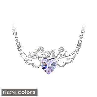 Princess Ice Platinum-plated Crystal Heart With Wings Pendant