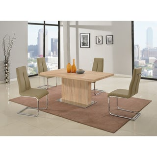 Christopher Knight Home Jackie Light Oak Pedestal Table with Gloss White Butterfly Extension
