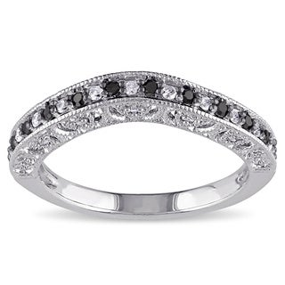 Haylee Jewels Sterling Silver 1/4ct TDW Black and White Diamond Curved Wedding Band (G-H, I2-I3)
