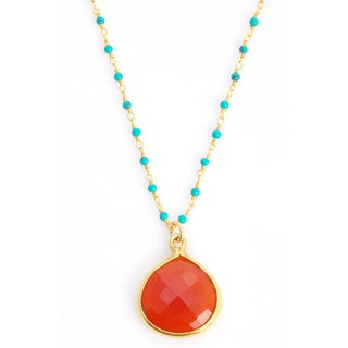 22k Goldplated Red Onyx and Turquoise Gemstone Necklace